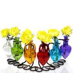 Amphora Glass Bottle & Metal Stand